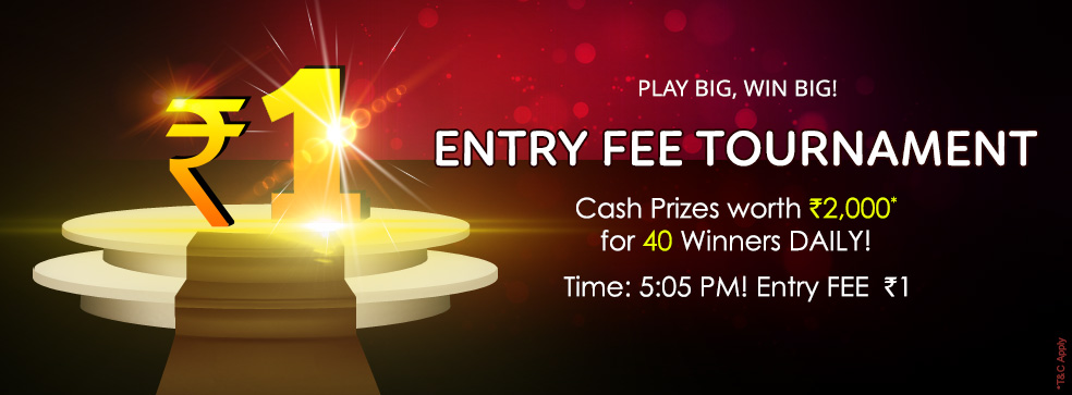 Rs. 1 entry fee tournament