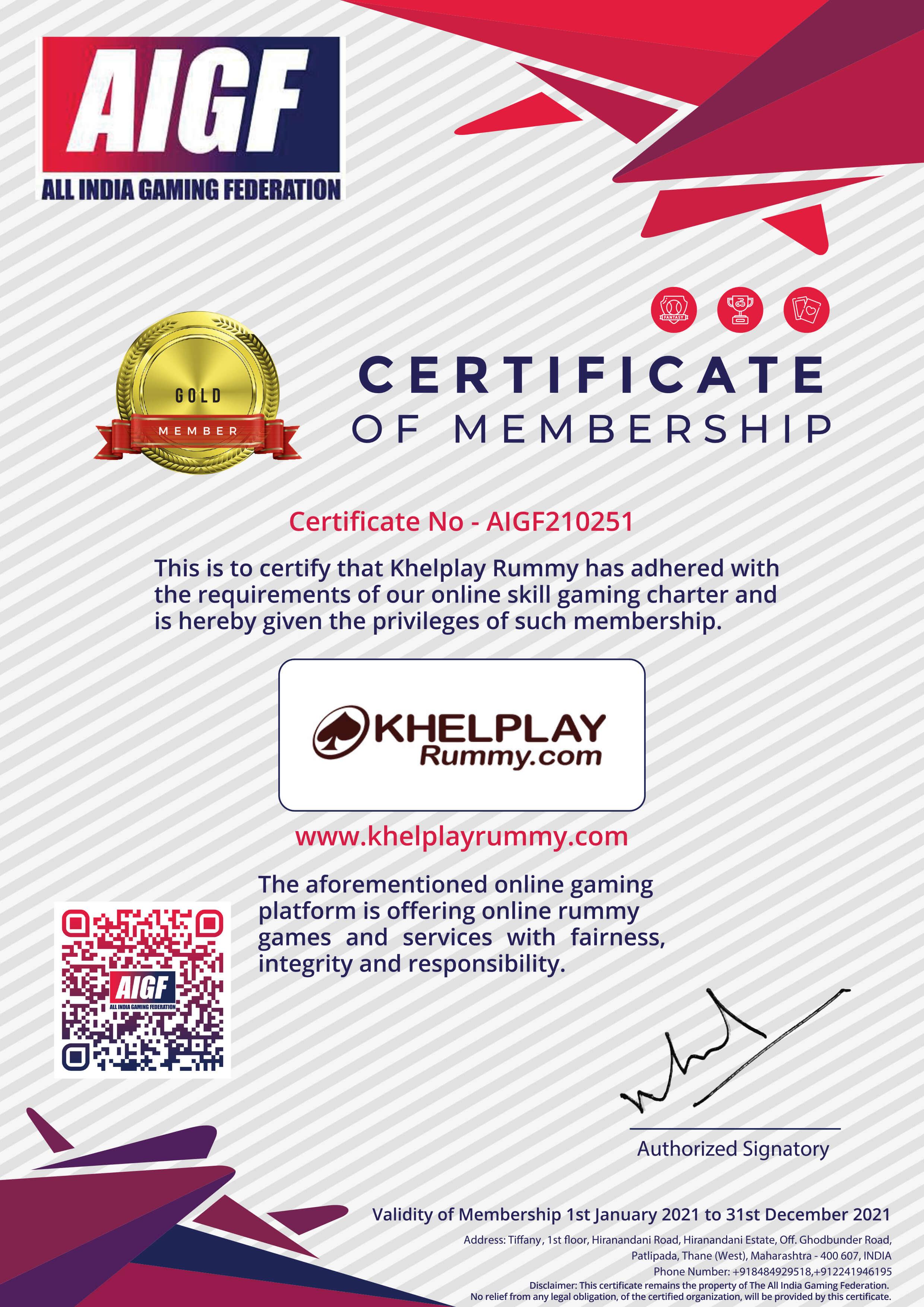 AIGF Membership Certificate